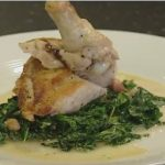 Roast Chicken Breast with Creamy Curly Kale